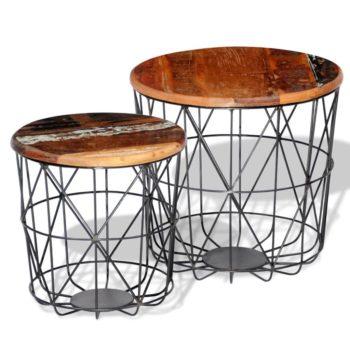 vidaXL Salontafelset rond 35/45 cm gerecycled hout 2-delig