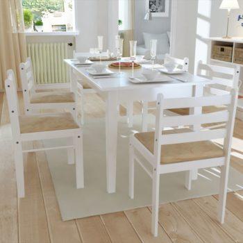 vidaXL Eetkamerstoelen 6 st massief hout en fluweel wit