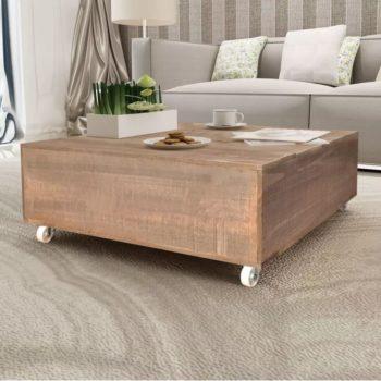 vidaXL Salontafel massief hout bruin