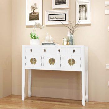 vidaXL Dressoir Chinese stijl massief hout wit