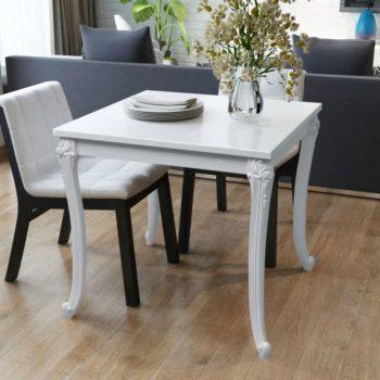 vidaXL Eettafel 80 x 80 x 76 cm hoogglans wit
