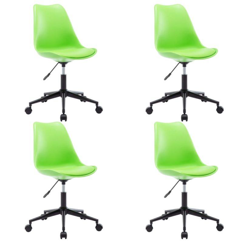 vidaXL Eetkamerstoelen draaibaar 4 st kunstleer groen