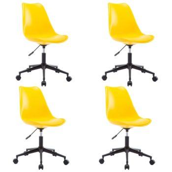 vidaXL Eetkamerstoelen draaibaar 4 st kunstleer geel