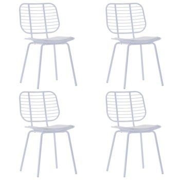 vidaXL Eetkamerstoelen met kunstleren zittingen 4 st staal wit