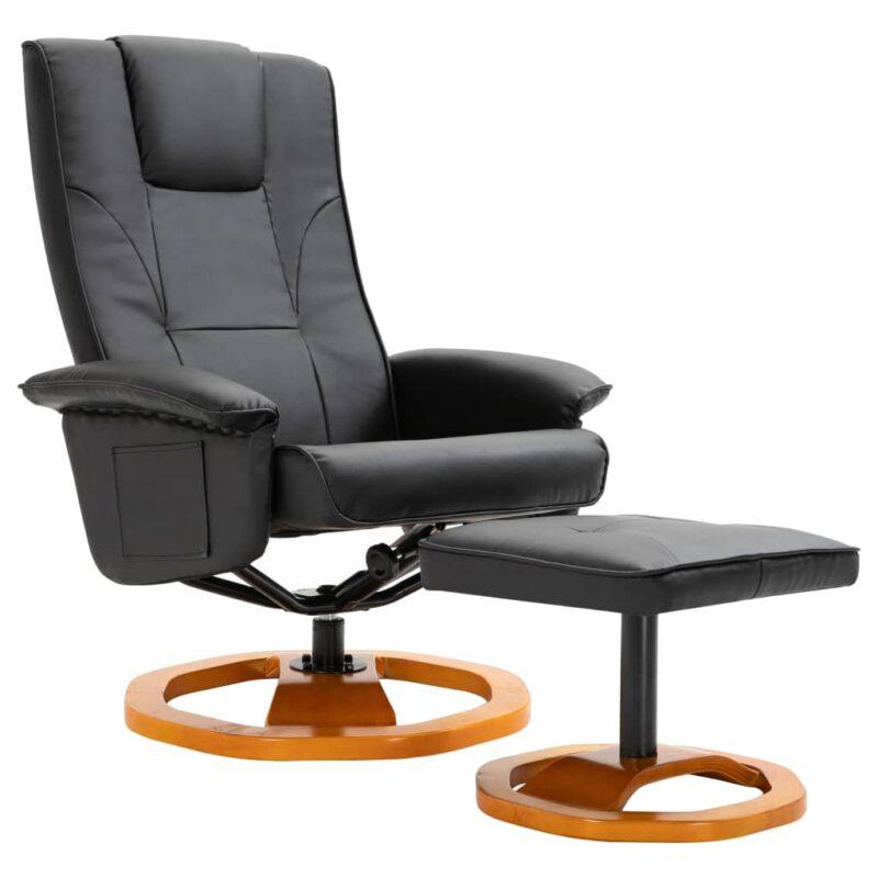 Televisiefauteuil met voetenbankje draaibaar kunstleer zwart