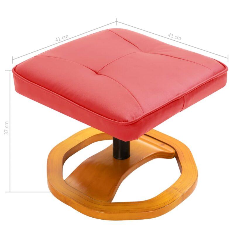 Televisiefauteuil met voetenbankje draaibaar kunstleer rood