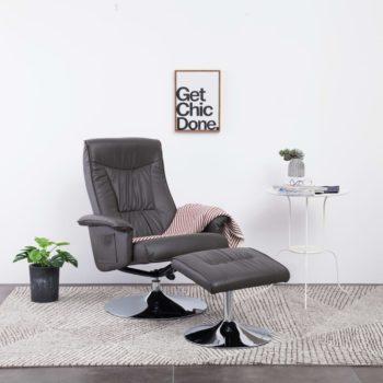 vidaXL Leunstoel met voetenbankje kunstleer grijs