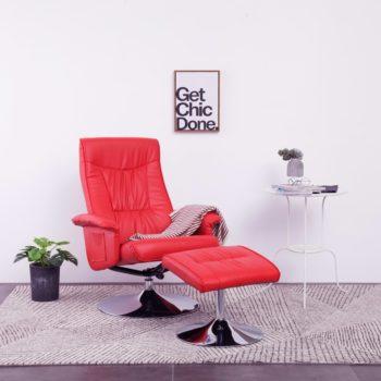 vidaXL Leunstoel met voetenbankje kunstleer rood