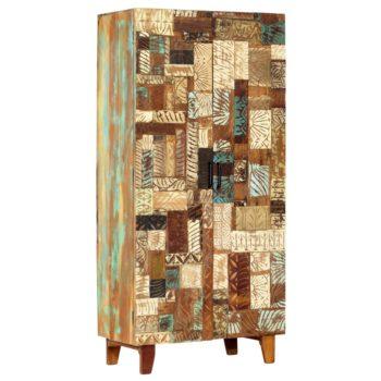 vidaXL Wandkast handgesneden 85x45x180 cm massief gerecycled hout