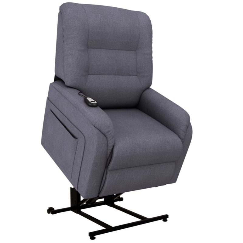 vidaXL Fauteuil elektrisch sta-op-stoel stof donkergrijs