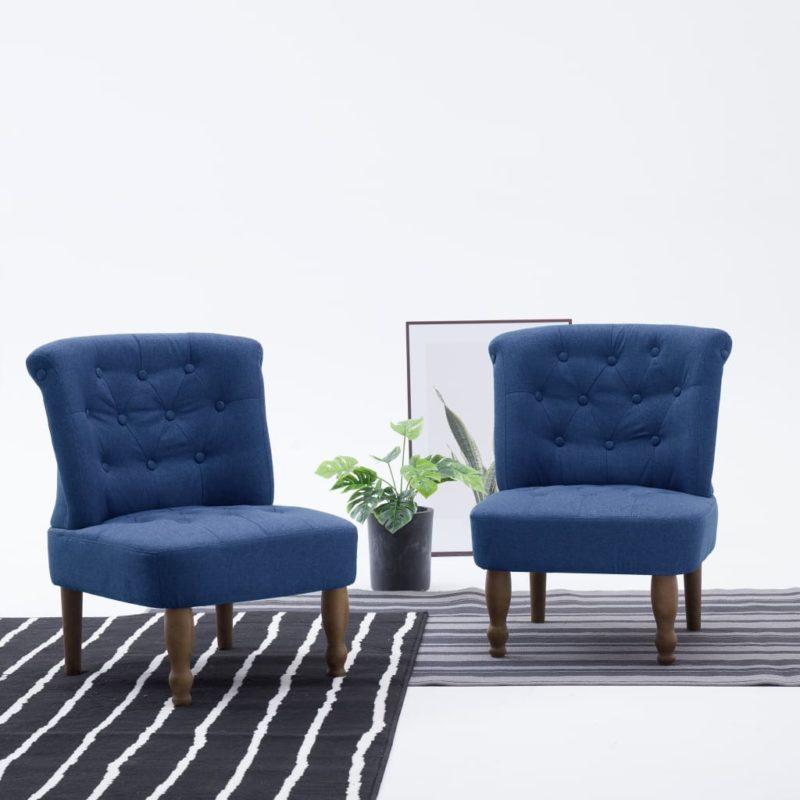 vidaXL Franse stoel stof blauw