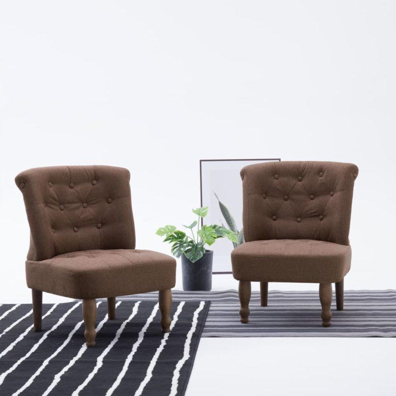 vidaXL Franse stoelen 2 st stof bruin