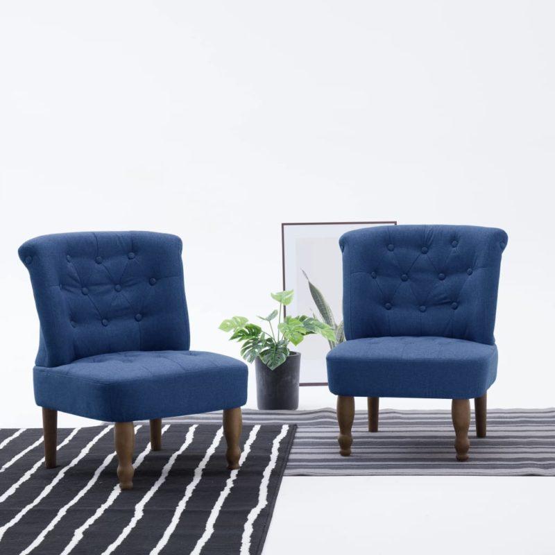 vidaXL Franse stoelen 2 st stof blauw