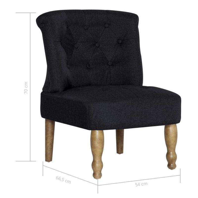 Franse stoelen 2 st stof zwart