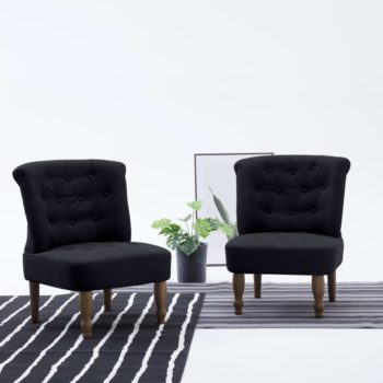 vidaXL Franse stoelen 2 st stof zwart