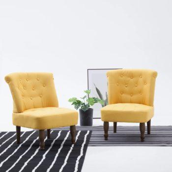 vidaXL Franse stoelen 2 st stof geel