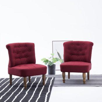 vidaXL Franse stoelen 2 st stof wijnrood