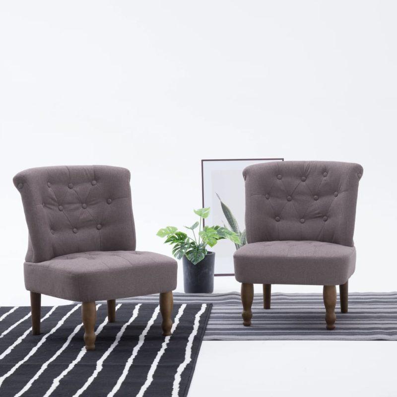 vidaXL Franse stoelen 2 st stof taupe