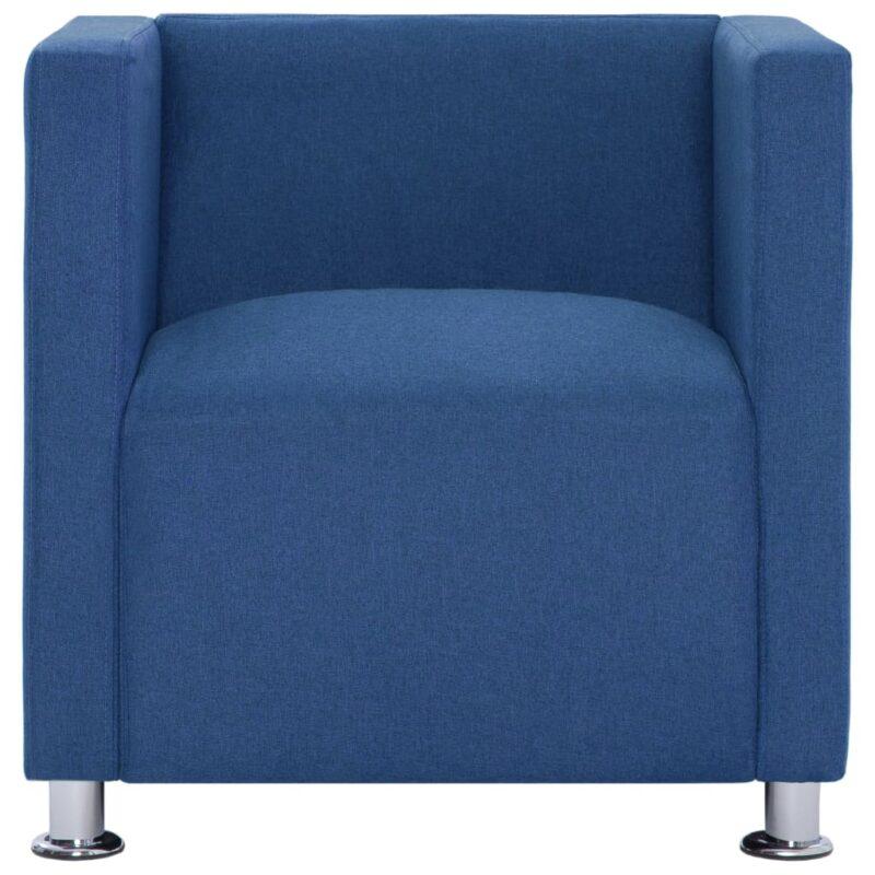 Fauteuil kubus stof blauw
