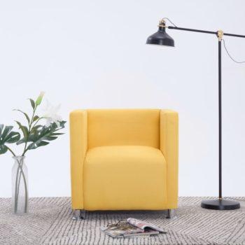 vidaXL Fauteuil kubus stof geel