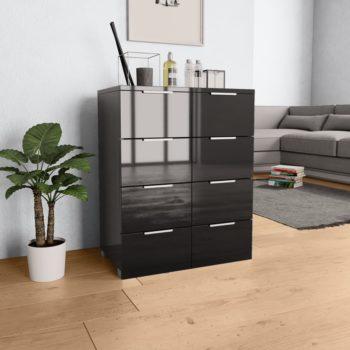 vidaXL Dressoir 60x35x76 cm spaanplaat hoogglans zwart