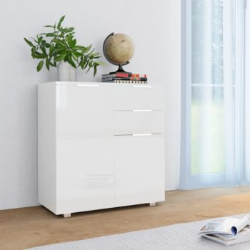 vidaXL Dressoir 71x35x76 cm spaanplaat hoogglans wit