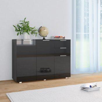 vidaXL Dressoir 107x35x76 cm hoogglans zwart