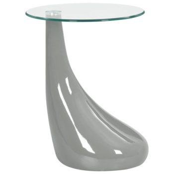 vidaXL Salontafel met rond glazen tafelblad hoogglans grijs