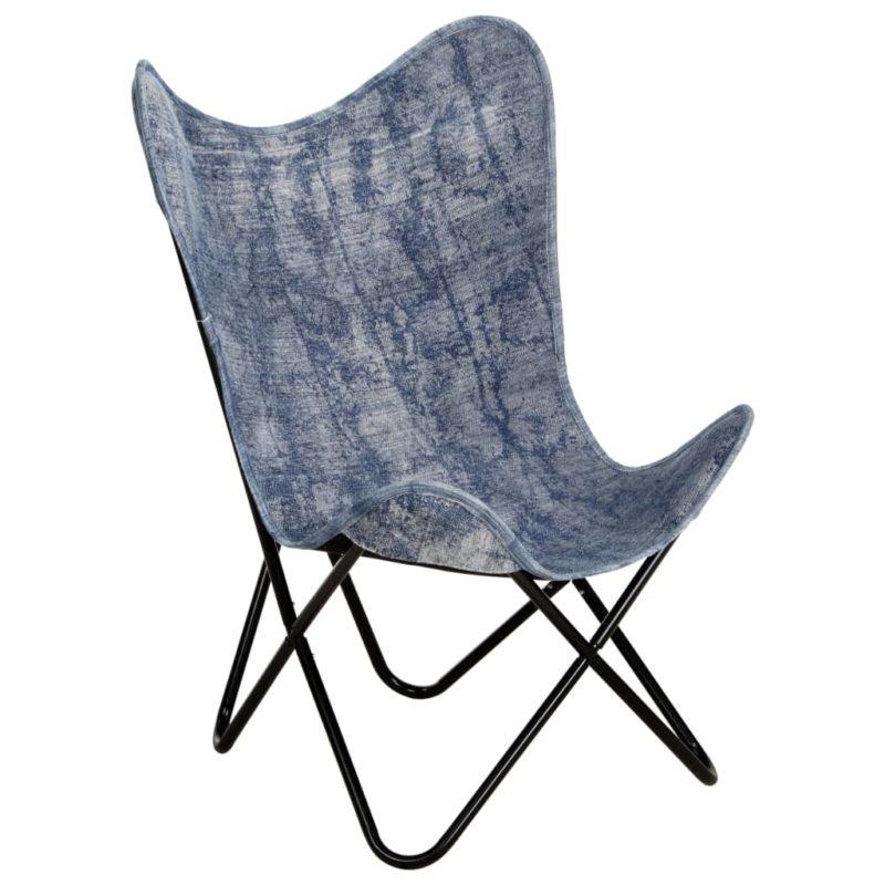 vidaXL Vlinderstoel canvas indigo-blauw