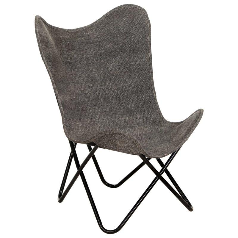 vidaXL Vlinderstoel canvas antraciet