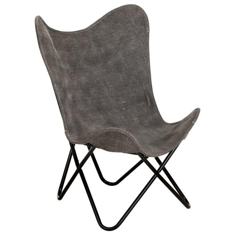 Vlinderstoel canvas antraciet