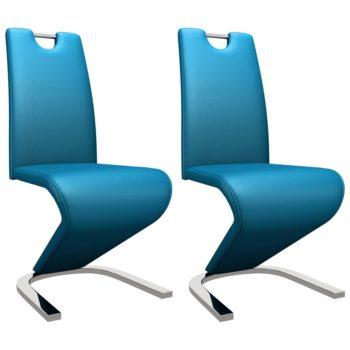 vidaXL Eetkamerstoelen met zigzag-vorm 2 st kunstleer blauw