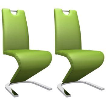 vidaXL Eetkamerstoelen met zigzag-vorm 2 st kunstleer groen