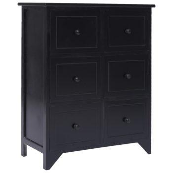 vidaXL Bijzetkast met 6 lades 60x30x75 cm paulowniahout zwart