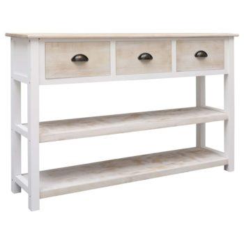 vidaXL Dressoir 115x30x76 cm hout naturel en wit