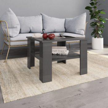 vidaXL Salontafel 60x60x42 cm spaanplaat hoogglans grijs