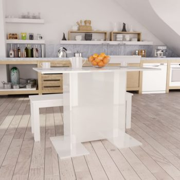 vidaXL Eettafel 110x60x75 cm spaanplaat hoogglans wit