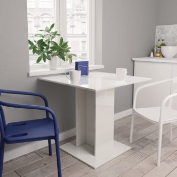 vidaXL Eettafel 80x80x75 cm spaanplaat hoogglans wit