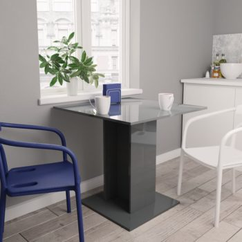 vidaXL Eettafel 80x80x75 cm spaanplaat hoogglans grijs