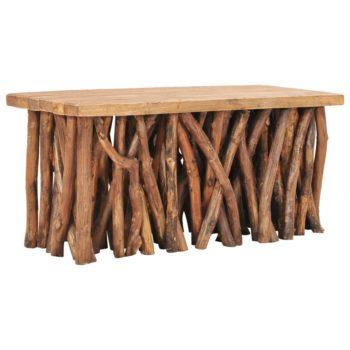 vidaXL Salontafel 100x40x47,5 cm massief gerecycled hout en teakhout