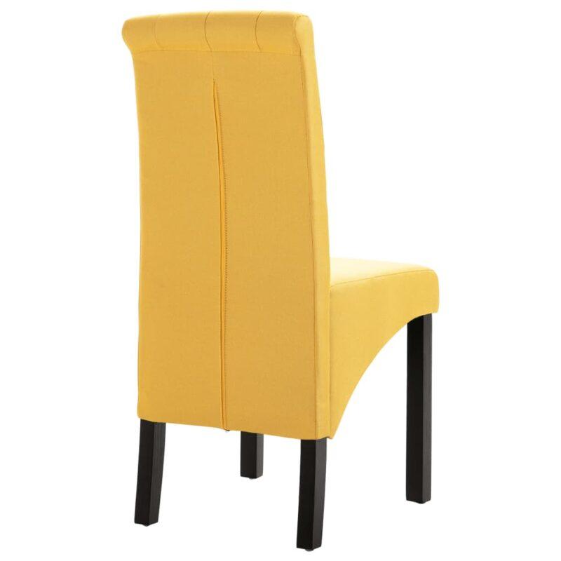 Eetkamerstoelen 4 st stof geel