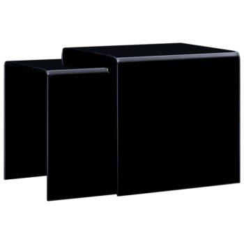 vidaXL 2-delige Salontafelset 42x42x41,5 cm gehard glas zwart