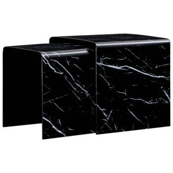 vidaXL 2-delige Salontafelset marmereffect 42x42x41,5 cm gehard glas