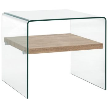 vidaXL Salontafel 50x50x45 cm gehard glas transparant