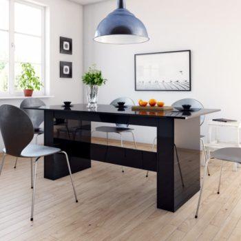vidaXL Eettafel 180x90x76 cm spaanplaat hoogglans zwart