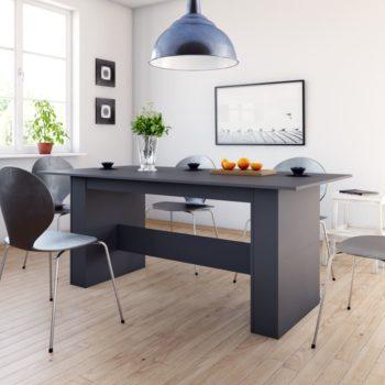 vidaXL Eettafel 180x90x76 cm spaanplaat hoogglans grijs