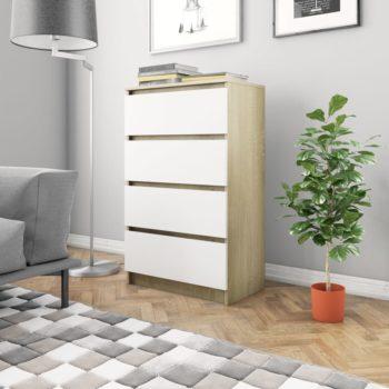vidaXL Dressoir 60x35x98,5 cm spaanplaat wit en sonoma eikenkleurig