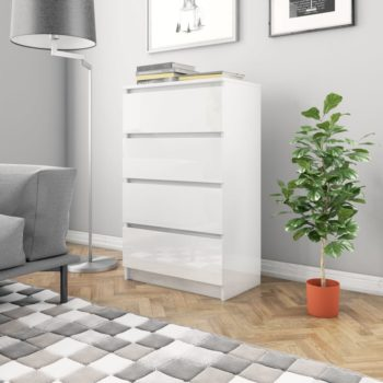 vidaXL Dressoir 60x35x98,5 cm spaanplaat hoogglans wit
