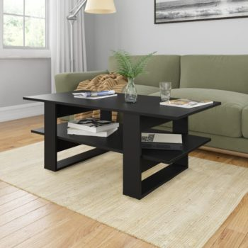 vidaXL Salontafel 110x55x42 cm spaanplaat zwart