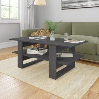 vidaXL Salontafel 110x55x42 cm spaanplaat hoogglans grijs